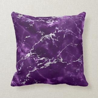 Earth Tones Noir Purple Black Silver Marble Cushion