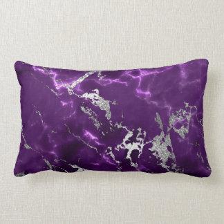 Earth Tones Noir Purple Black Silver Marble Lumbar Pillow