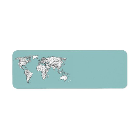 Earth turquoise ink return address label
