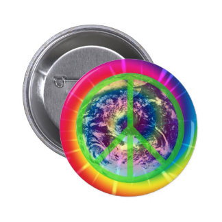 Earth, Tye Dye, and Peace 6 Cm Round Badge