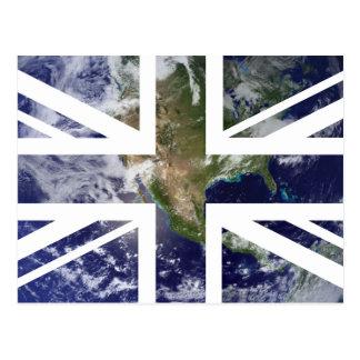 Earth Union Jack British UK Flag Postcards