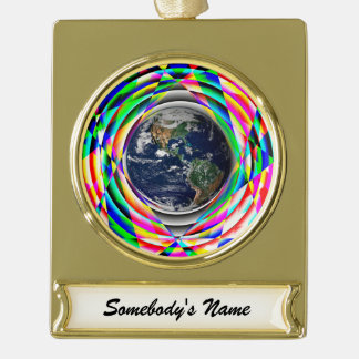 Earth Vibes Gold Plated Banner Ornament