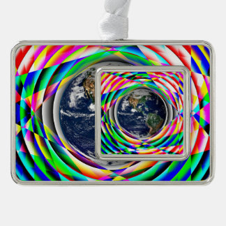 Earth Vibes Silver Plated Framed Ornament