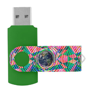 Earth Vibes Swivel USB 3.0 Flash Drive