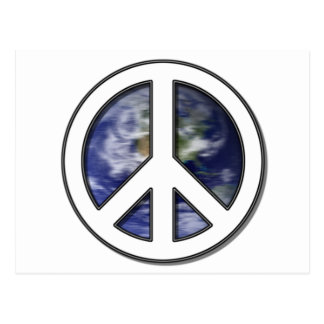Earth White Peace Sign7 Post Card