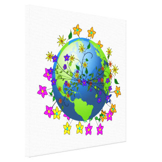 Earth with Flowers Gallery Wrapped Canvas