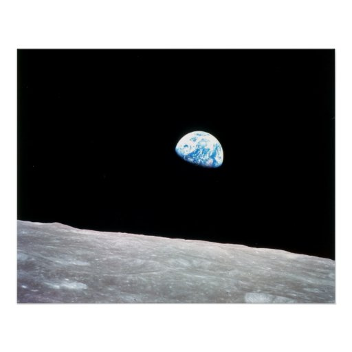 Earthrise from moon print