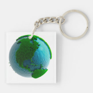 Earth's rotation causes the movement of the time Double-Sided square acrylic key ring
