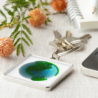 Earth's rotation causes the movement of the time Silver-Colored square key ring