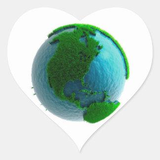 Earth's rotation heart sticker