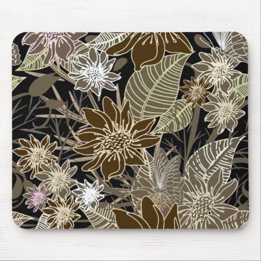 Earthtone Tropical Flowers, Leaves & Butterflies Mousepads