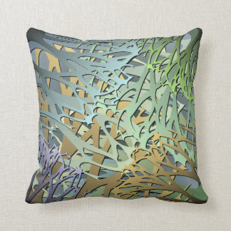 Earthy Abstract 3D Look Undergrowth Throw Pillow