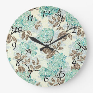 Earthy Aqua Glittery Floral Clocks
