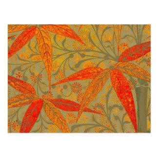 Earthy Bamboo Art Print Illustration Colorful Postcard