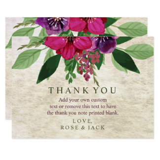 Earthy, Cranberry-Plum Wedding Thank You Cards