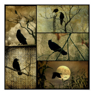 Earthy Crows Collage Posters