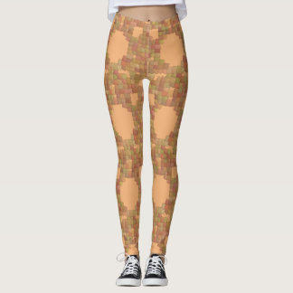 Earthy Earth Tones Tan and Yellow Squares Leggings