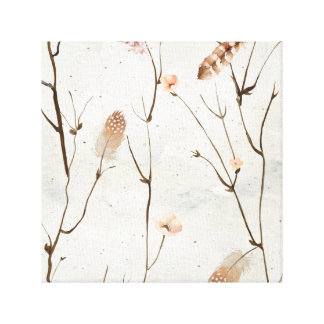 Earthy, feather and floral twig tree canvas