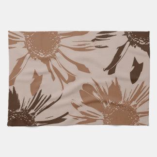 Earthy Gerbera Flowers Tea Towel