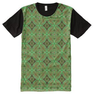 Earthy Green Kaleidoscope ~ Beautiful Reflections All-Over Print T-Shirt