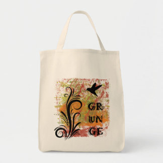 Earthy Grunge Hummingbird Organic Grocery Bag