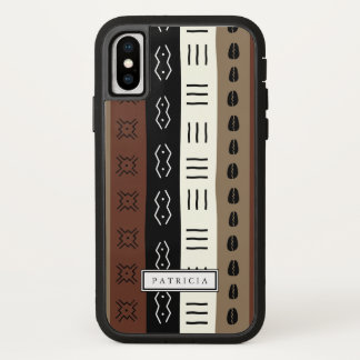 Earthy Mud Print Stripes Pattern Custom iPhone X Case