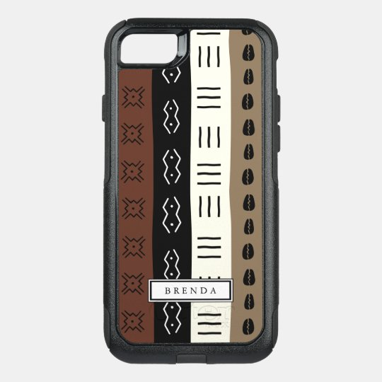 Earthy Mudprint Stripes Pattern Personalised OtterBox Commuter iPhone 7 Case