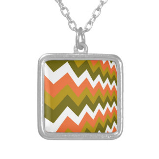 Earthy Orange Mixed Zigzags Square Pendant Necklace