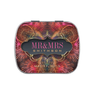 Earthy Pink Fractal Feathers Party Favors Candy Jelly Belly Candy Tins