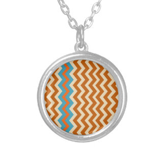Earthy Pottery Zigzags With Blue Border Round Pendant Necklace