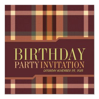 Earthy Tartan Plaids Birthday Party Invitations