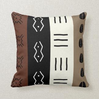 Earthy Tones Mudprint Stripes Pattern Cushion