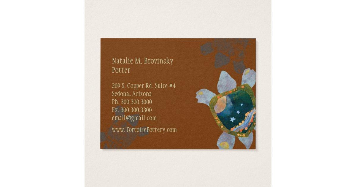 Earthy unique sedona turtle pottery business cards zazzle for Pottery business cards