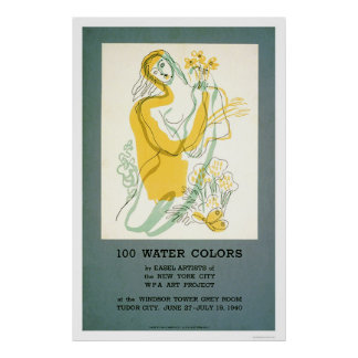 Easel Artist Watercolor 1940 WPA Poster