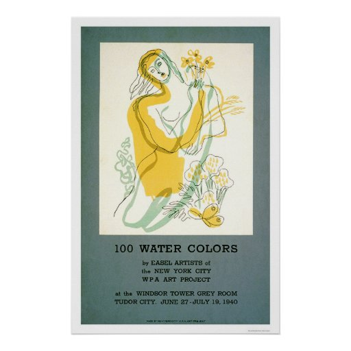 Easel Artist Watercolor 1940 WPA Poster