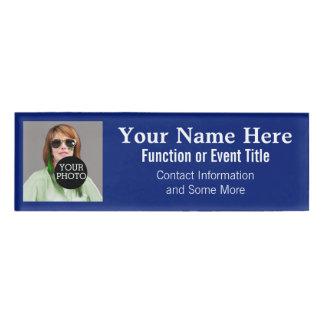 Easily Design Your Own Blue Photo Logo name tag