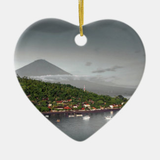 East Bali coastline and Mount Agung Ceramic Heart Decoration