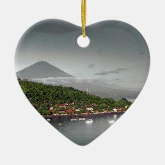 East Bali coastline and Mount Agung Ceramic Heart Decoration