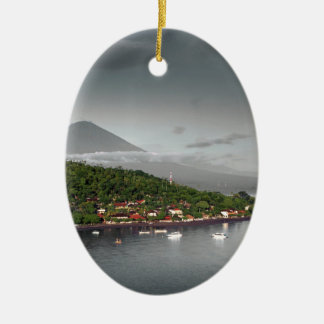 East Bali coastline and Mount Agung Ceramic Oval Decoration