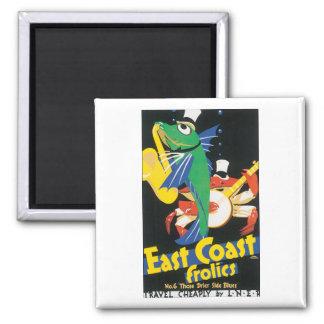 East Coast Frolics Vintage Travel Poster Square Magnet