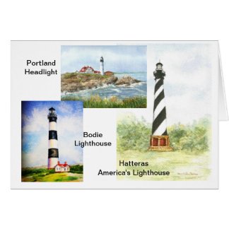 East Coast Lighthouses  watercolor by Mary Dunham Card