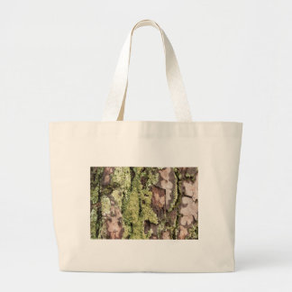 East Coast Pine Tree Bark Wet From Rain with Moss Large Tote Bag