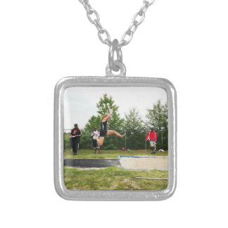 East Henderson High School-Track & Field Square Pendant Necklace