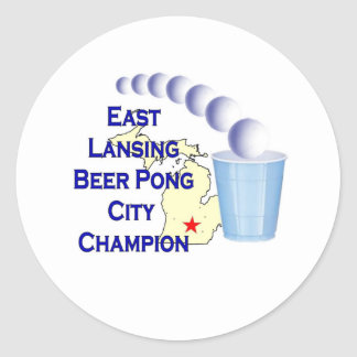 East Lansing Beer Pong Champion Round Stickers