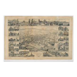 East Los Angeles, CA. Panoramic Map 1888 (0900A) Poster