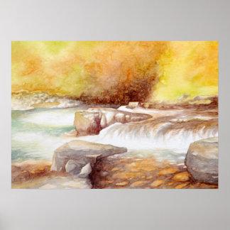 East Lyn river waterfalls Poster