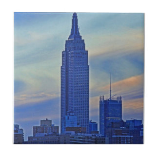 East River View of the Empire State Building A1 Small Square Tile