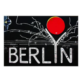 East Side Gallery, Berlin Wall, Barbed Wire/Red Su Poster