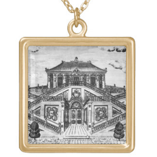 East side of the Palace of the Calm of the Sea, Ga Square Pendant Necklace