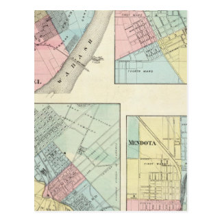 East St Louis, Mt Carmel, Jerseyville and Mendota Postcard